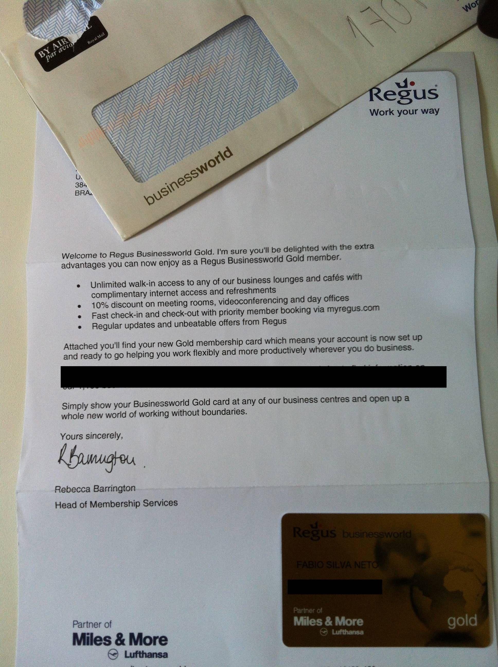 Cartão REGUS Businessworld GOLD