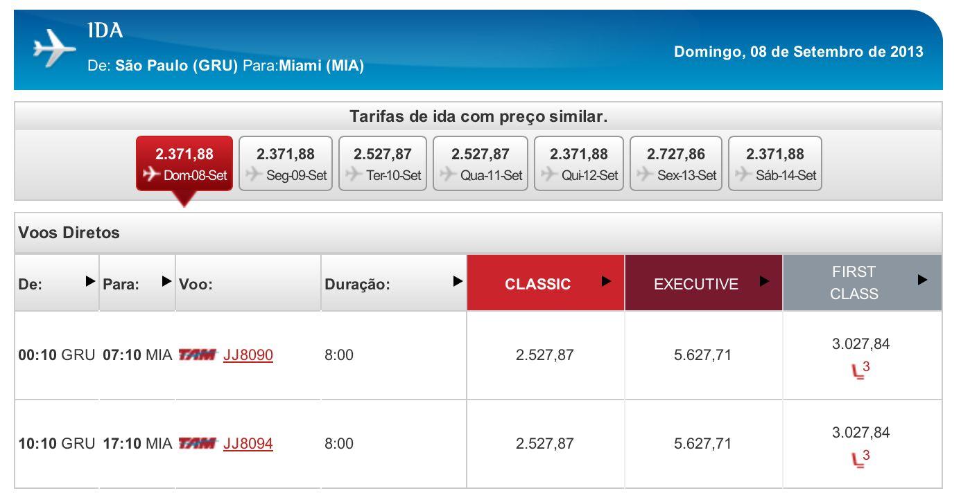 TAM tem passagens para Miami por R$6.247,00 em Primeira Classe (ida e volta)