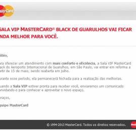 Sala VIP Mastercard Black em Guarulhos é fechada para reforma