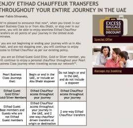 Novas regras da Etihad Airways para serviço de chauffeur para passageiros da Classe Executiva
