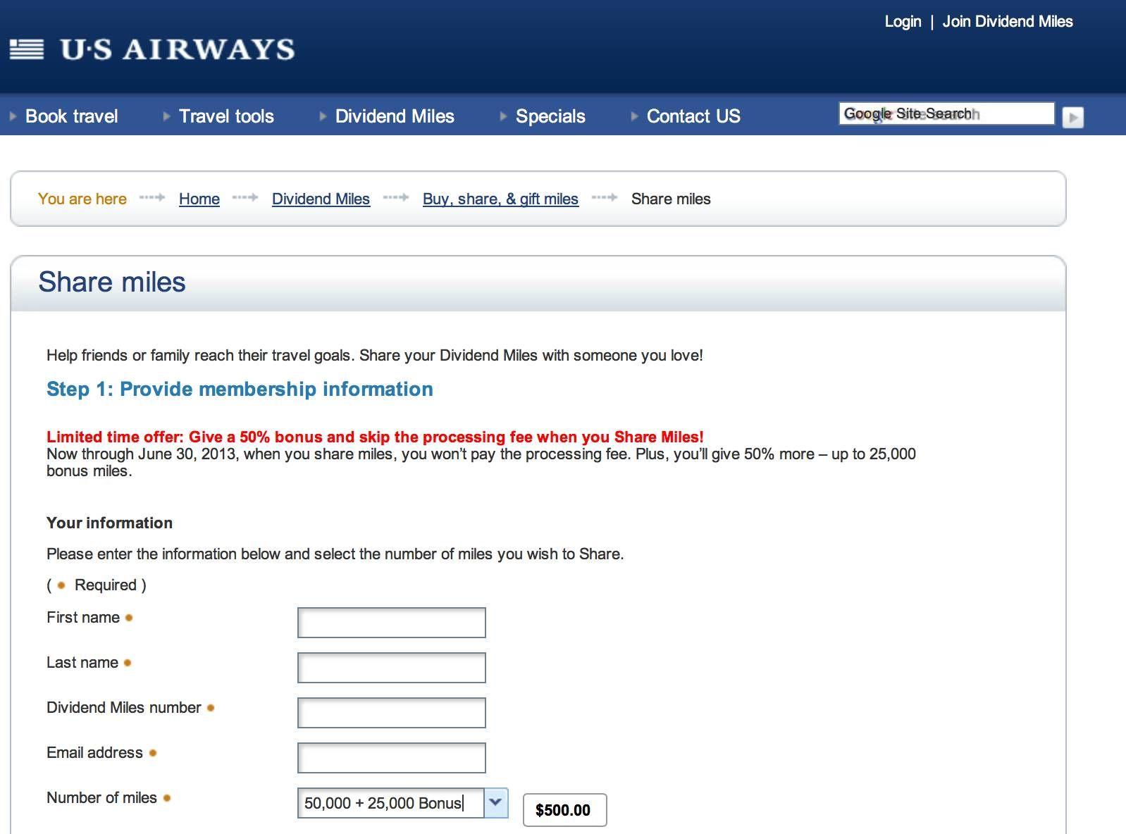 US Airways faz promoção para compartilhamento de milhas