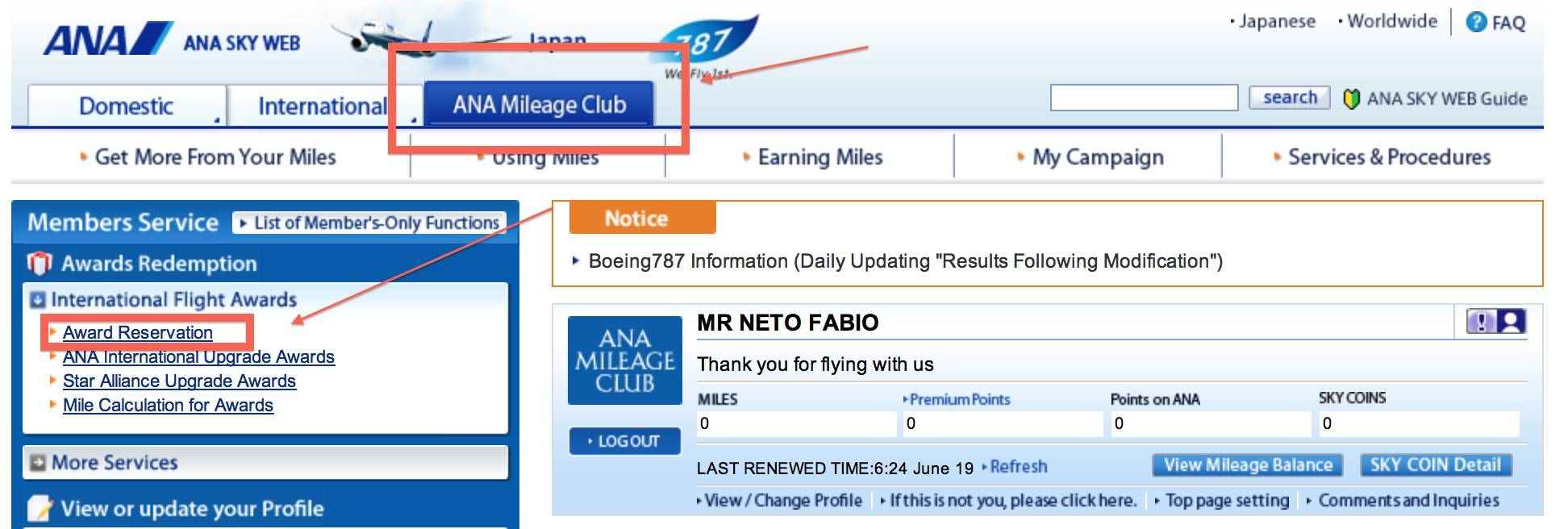 ana mileage club