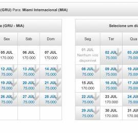 TAM tem passagens pra Miami em Julho com pontos na tarifa restrita da Executiva