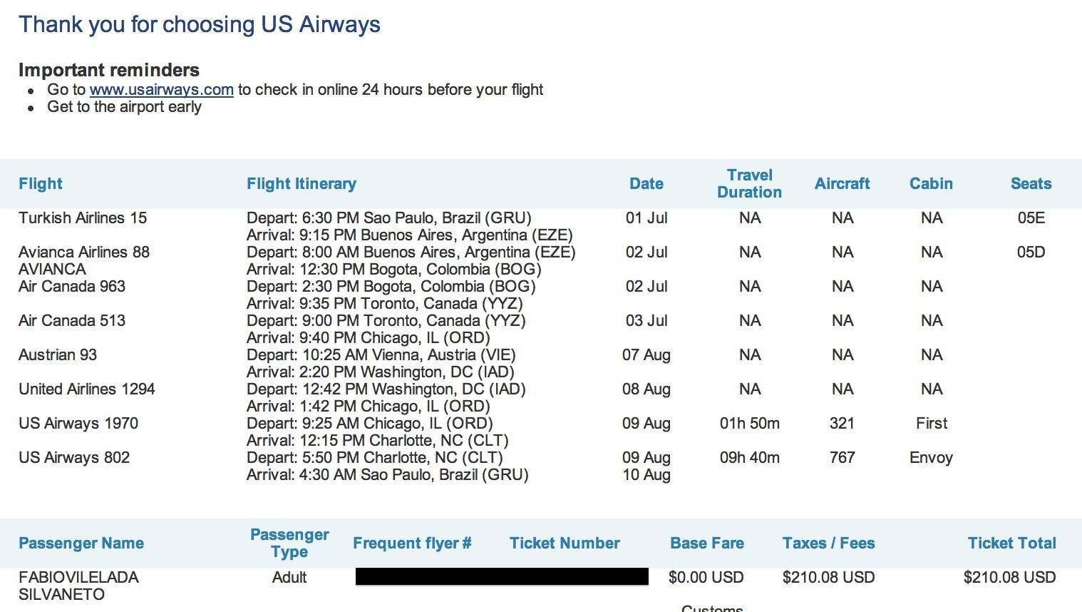 us airways booking