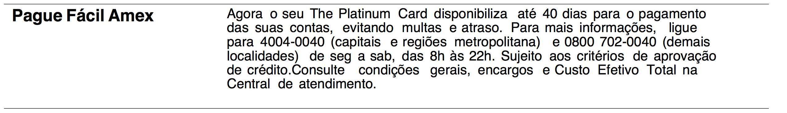 The Platinum Card da American Express passa a oferecer Pague-Contas