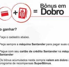 Santander oferece pontos em dobro para quem usar a maquininha do banco na hora das compras