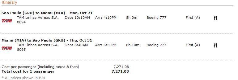 TAM e American Airlines tem passagens para Miami em Primeira Classe por R$7.000,00 (ida e volta)
