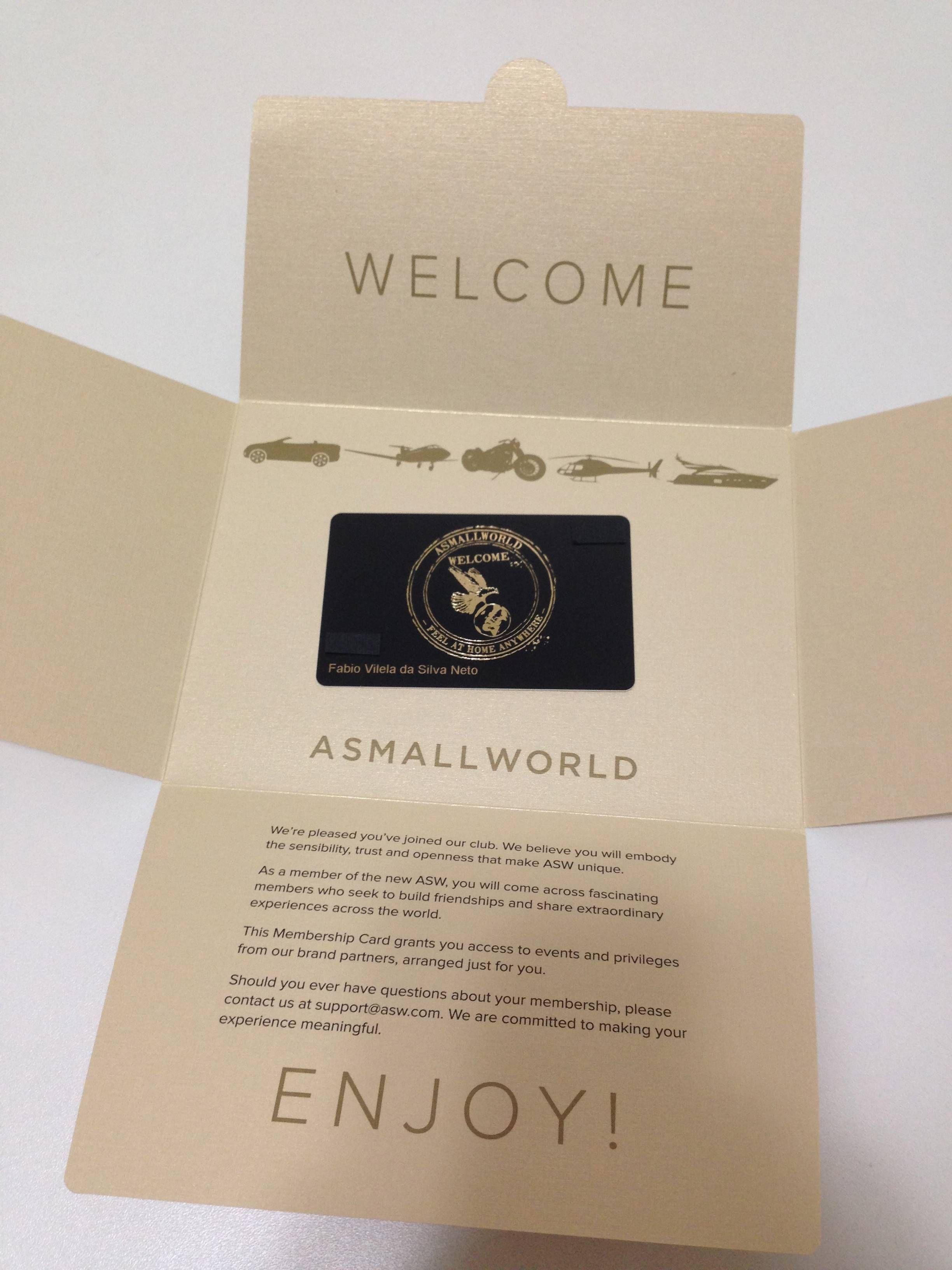 Kit de boas vindas do cartão ASMALLWORLD