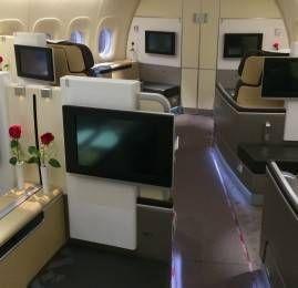 Primeira Classe da Lufthansa no B747-8 saindo de São Paulo no vôo inaugural para Frankfurt