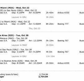 Passagens para Miami em Classe Executiva por R$2.755 reais (ida e volta)