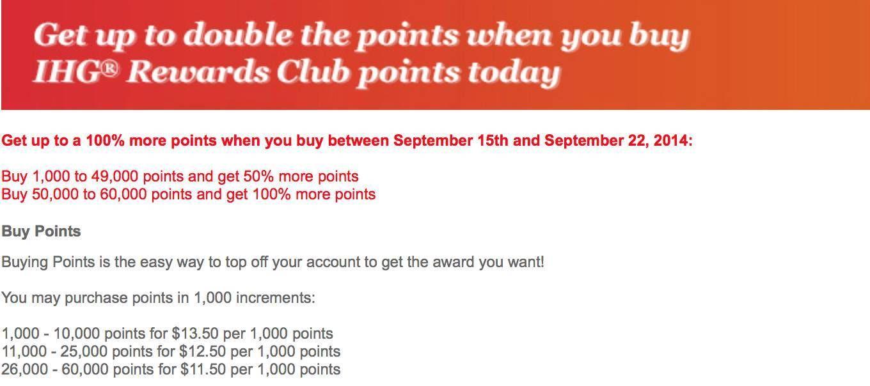 IHG Rewards oferece ate 100% de bônus na compra de pontos