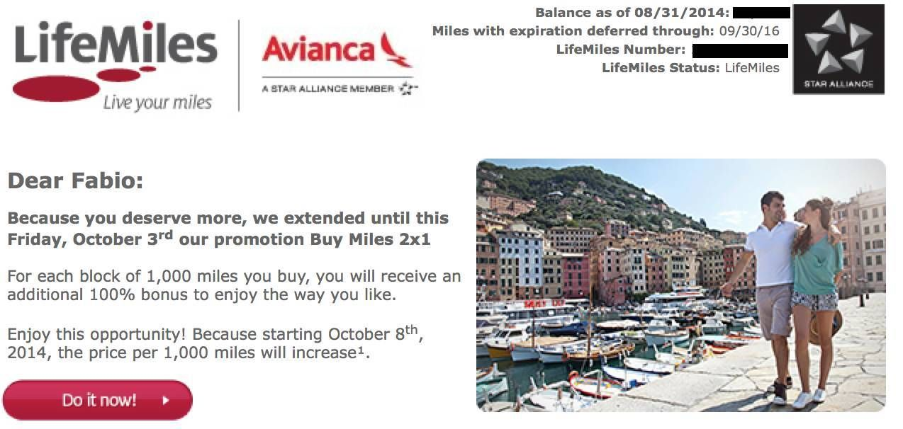 lifemiles avianca