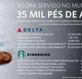 Delta servirá café fresco da Starbucks em seus voos ao redor do mundo