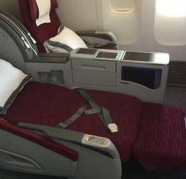 Classe Executiva da Qatar no B777-300ER – Doha para Amman (vendida como Primeira Classe)