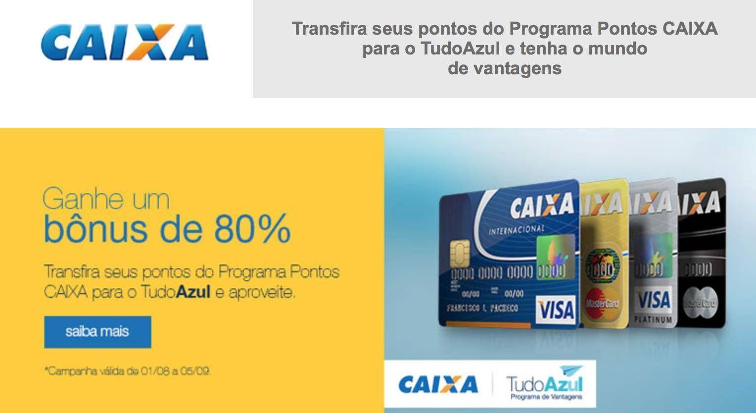 TudoAzul oferece 80% de bônus nas transferência de pontos da Caixa