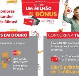 Santander oferece até 6,6 pontos por U$ gasto e vai sortear 5 milhões de pontos