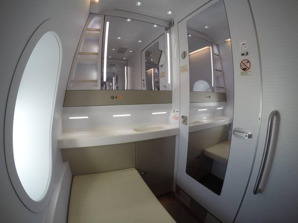 como o lavatório da classe econômica estava ocupado ela decidiu usar  #635D4C 1024x768 Banheiro De Avião Como Funciona