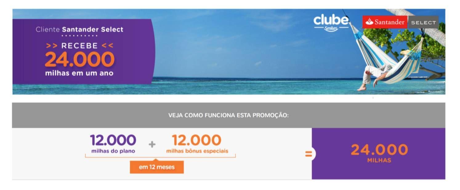Exclusividade clientes Santander Select – 24.000 milhas por R$420,00