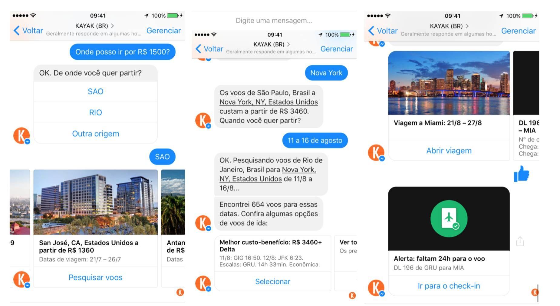 Kayak te ajuda a planejar sua viagem através do messenger do Facebook
