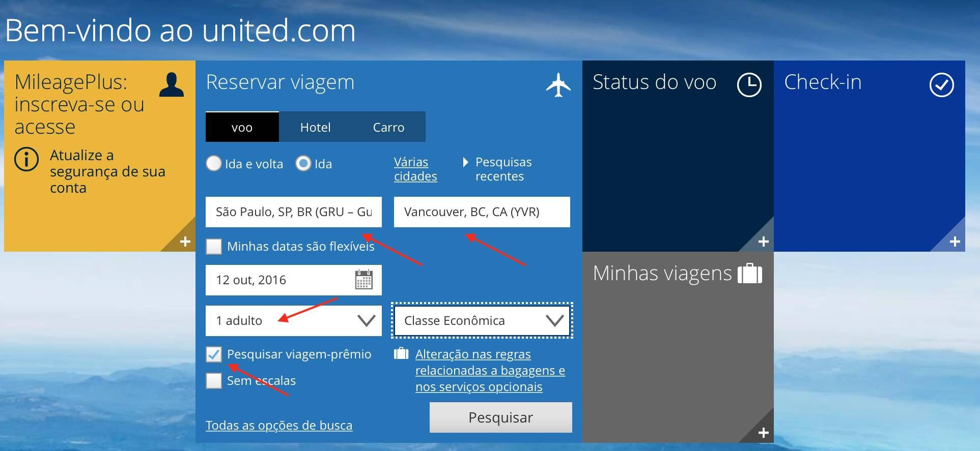 Como usar o site da United para buscar passagens com milhas e pontos nas cias da Star Alliance