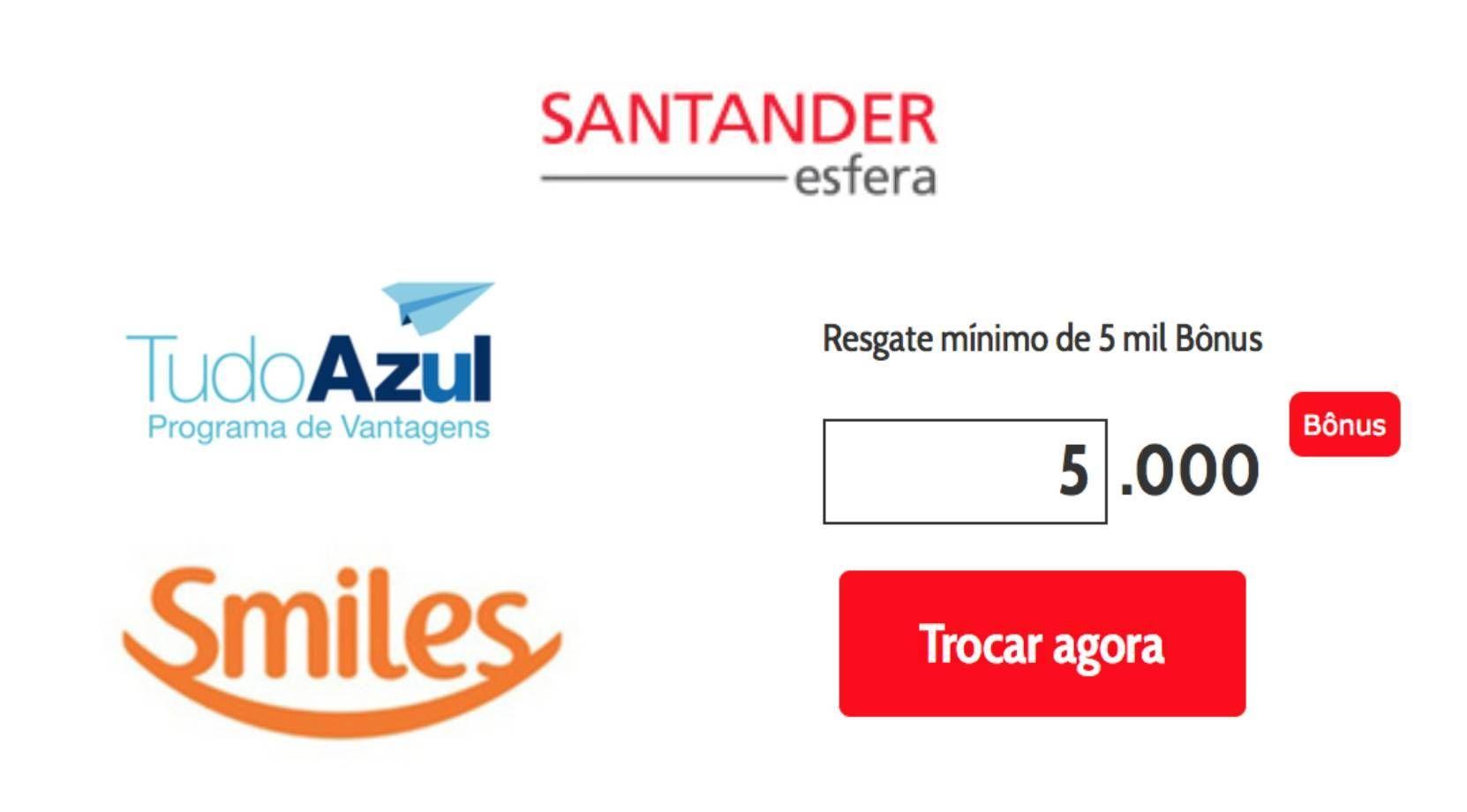 Santander diminui a quantidade mínima de pontos para transferências para o Smiles e TudoAzul