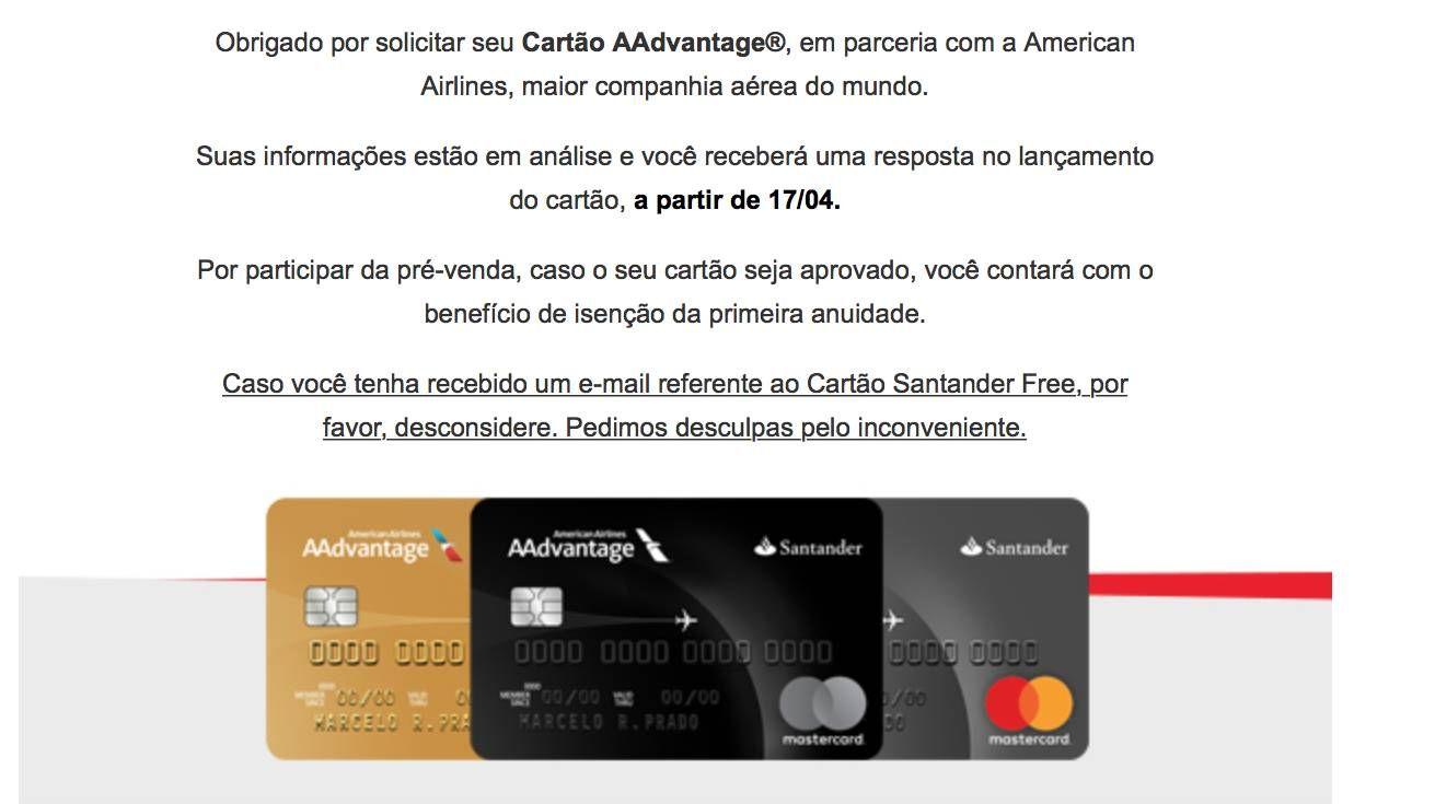 Santander começa a enviar emails se desculpando pelo equívoco ocorrido nas solicitações dos cartões da AA