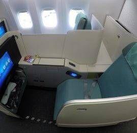 Classe Executiva da Korean Air no B77W – Hong Kong p/ Seoul