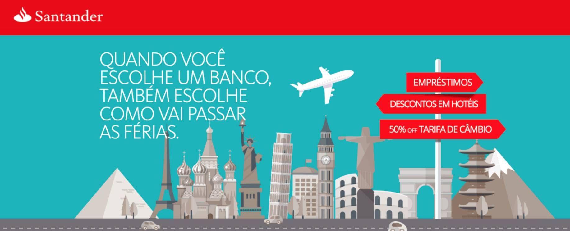 Santander oferece desconto de 50% na tarifa de compra e venda de moeda estrangeira