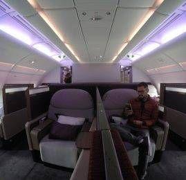 Primeira Classe da Qatar no A380 – Paris para Doha