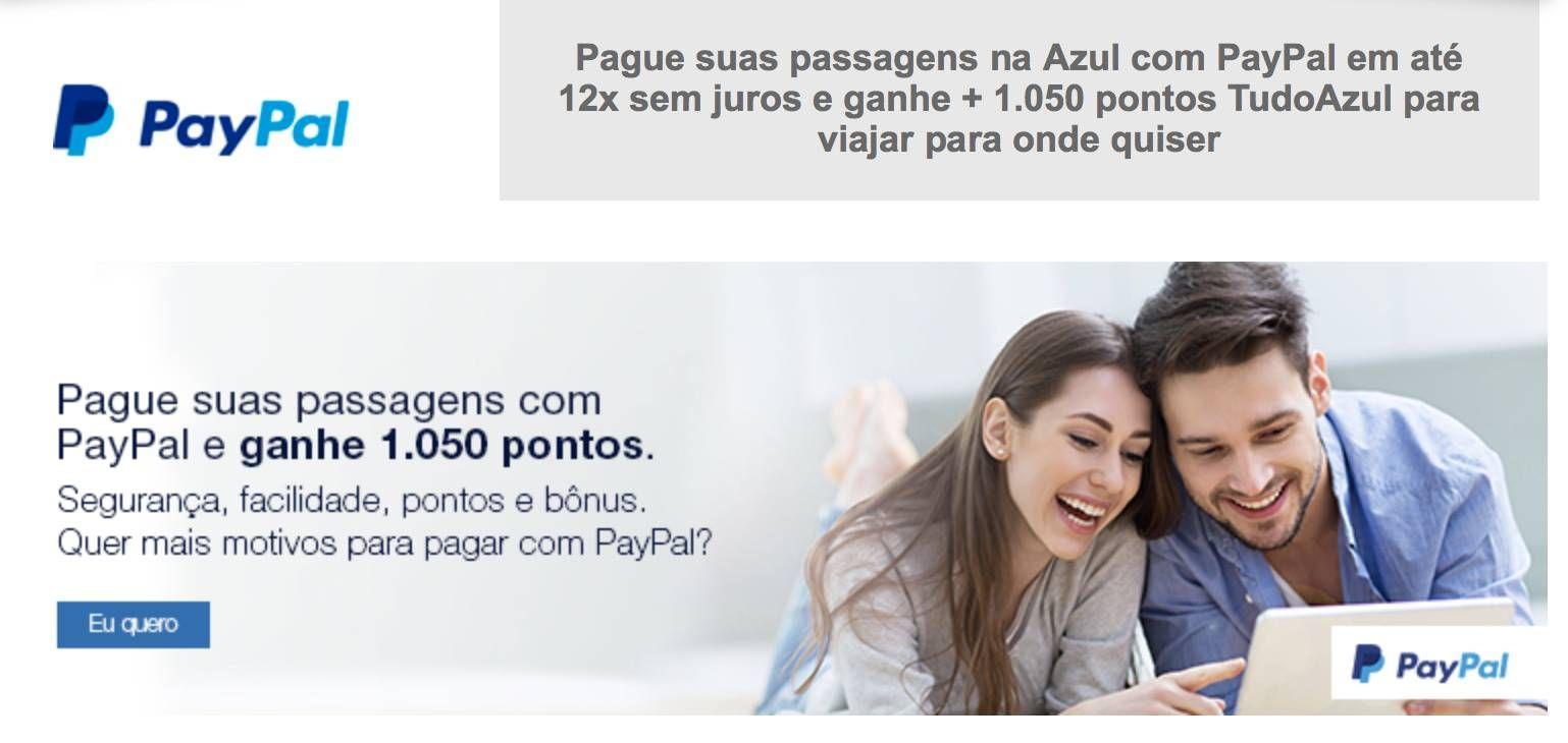 Ganhe até 1.050 pontos TudoAzul ao pagar suas passagens com Paypal