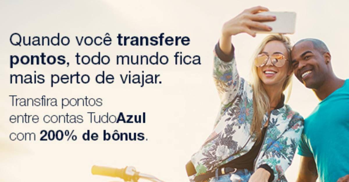 Ganhe 200% de bônus ao transferir pontos entre contas TudoAzul