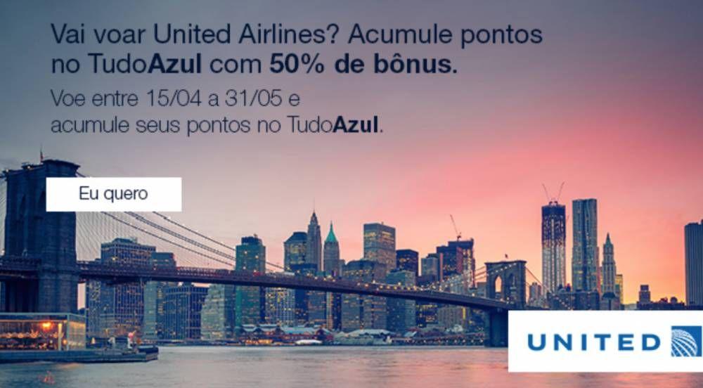 TudoAzul oferece 50% de bônus em voos United