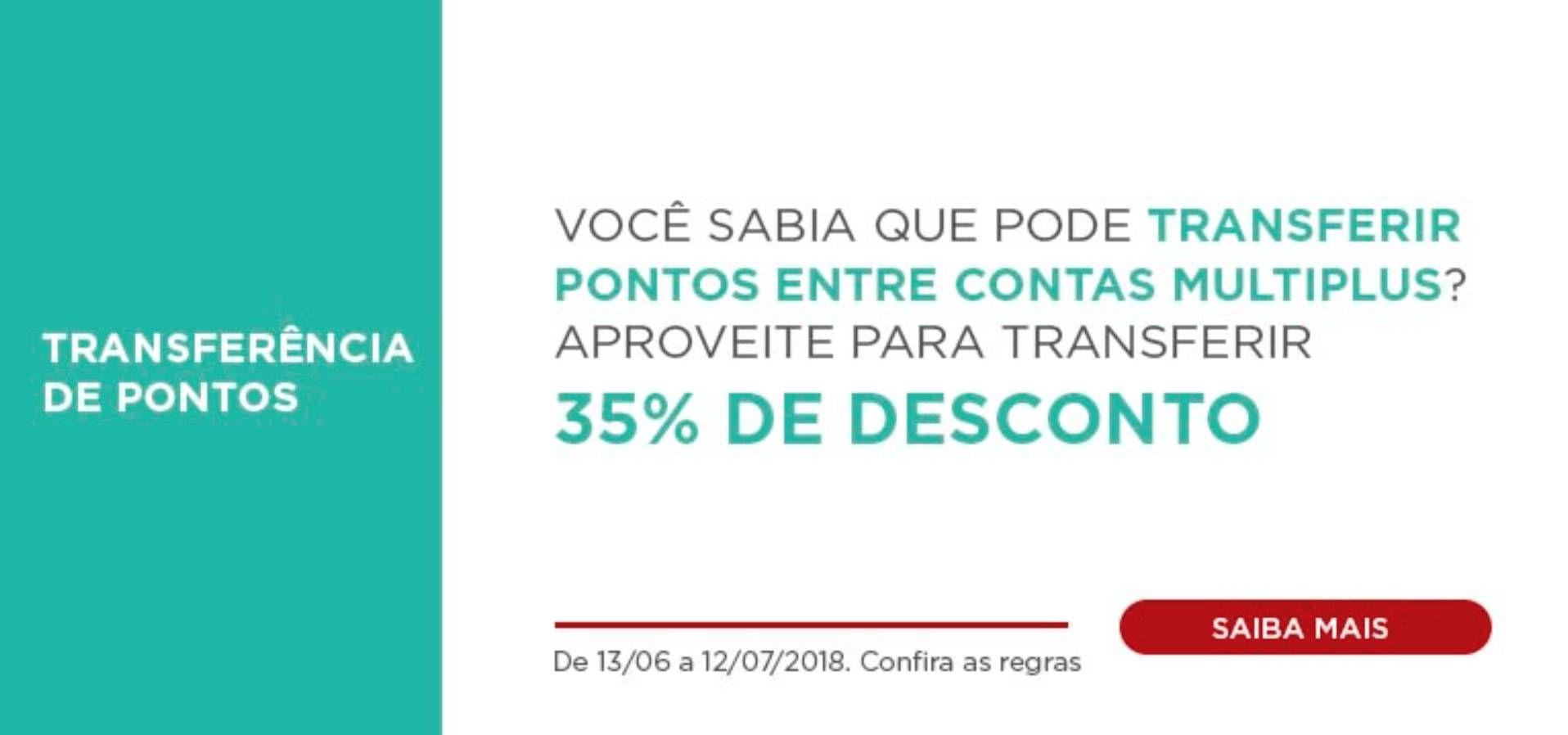 Multiplus oferece 35% desconto na transferência de pontos entre contas