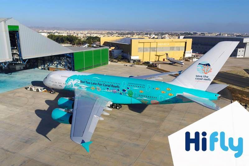 """Hi Fly lança campanha """"Salve os Recifes do Coral"""" com nova pintura no A380-800!"""