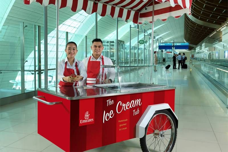 Emirates está distribuindo sorvetes gratuitos no Aeroporto Internacional de Dubai