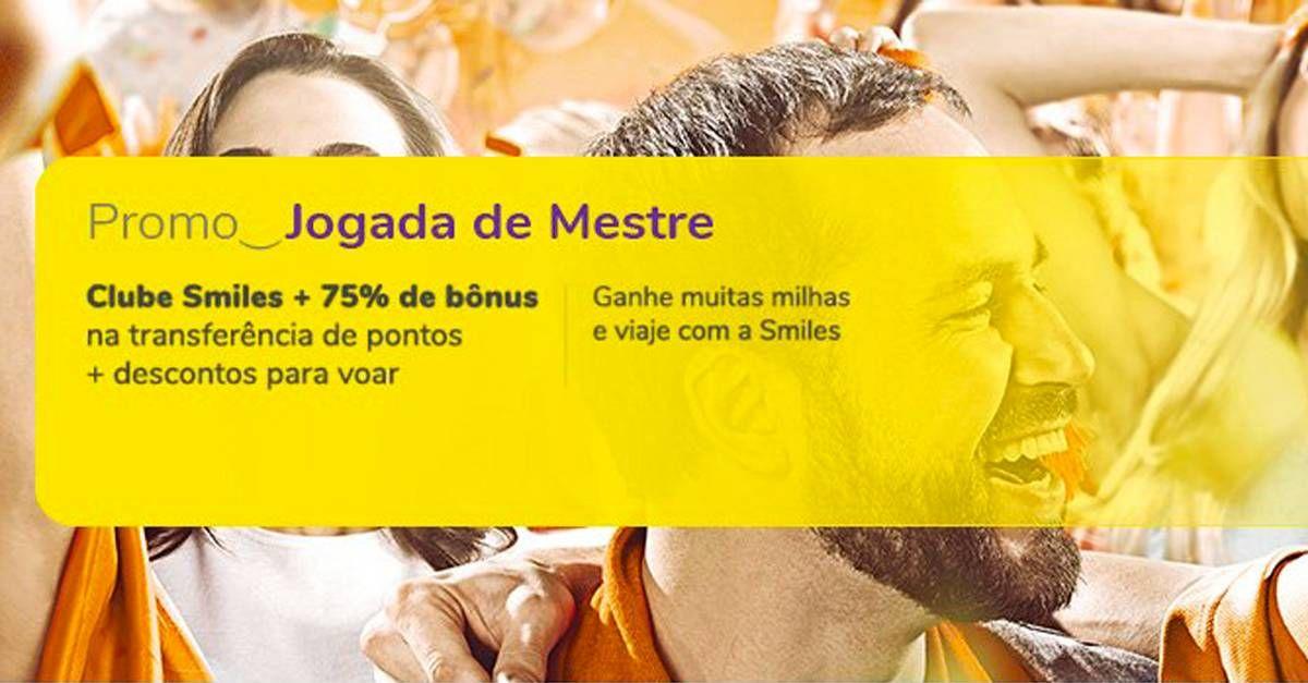 Smiles oferece 75% de bônus nas transferências do cartão para clientes Clube Smiles e Diamante