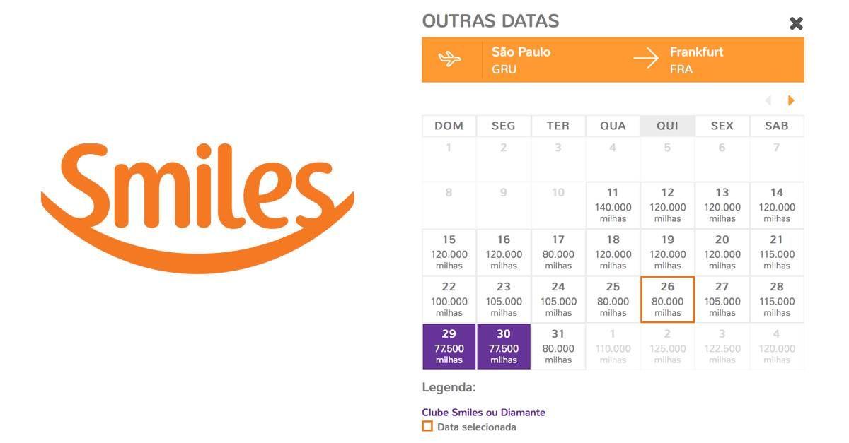 Smiles libera calendário mensal de tarifas para voos de parceiros!