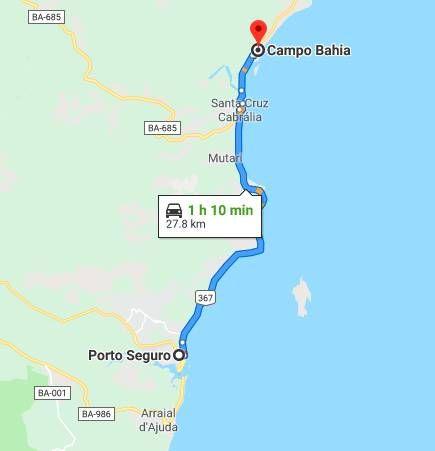 Trajeto de carro do aeroporto de Porto Seguro a Santo André