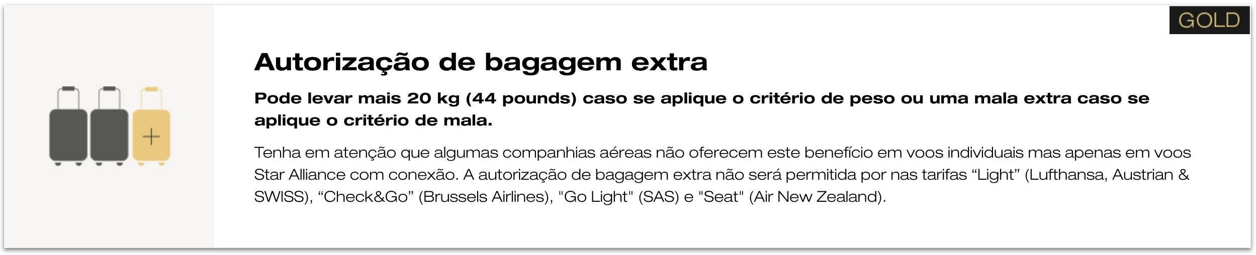 Bagagem extra Star Alliance Gold