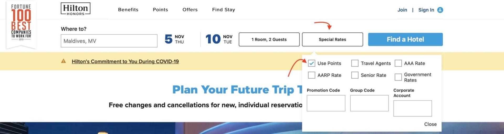 reservar um hotel com pontos no Hilton