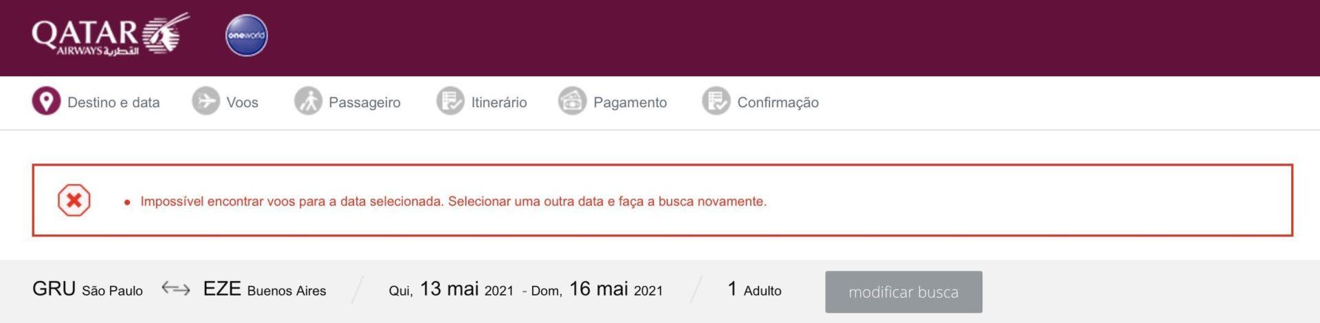 Qatar cancelamento Buenos Aires