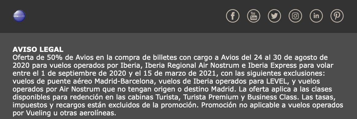 Iberia 50% desconto Avios