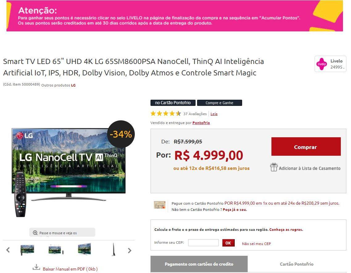 Exemplo de compra Livelo 5x1 Pontofrio