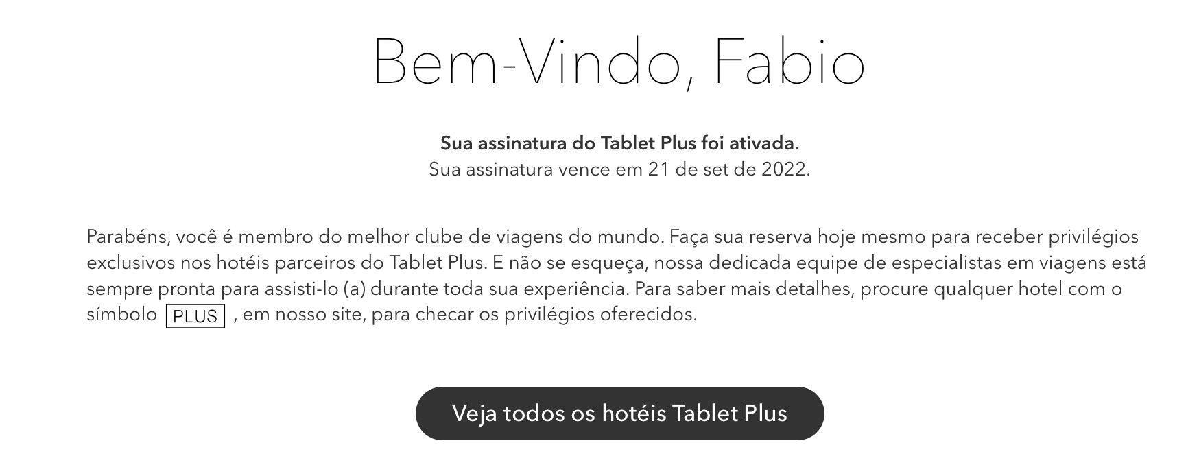 confirmação de cadastro no Tablet Plus