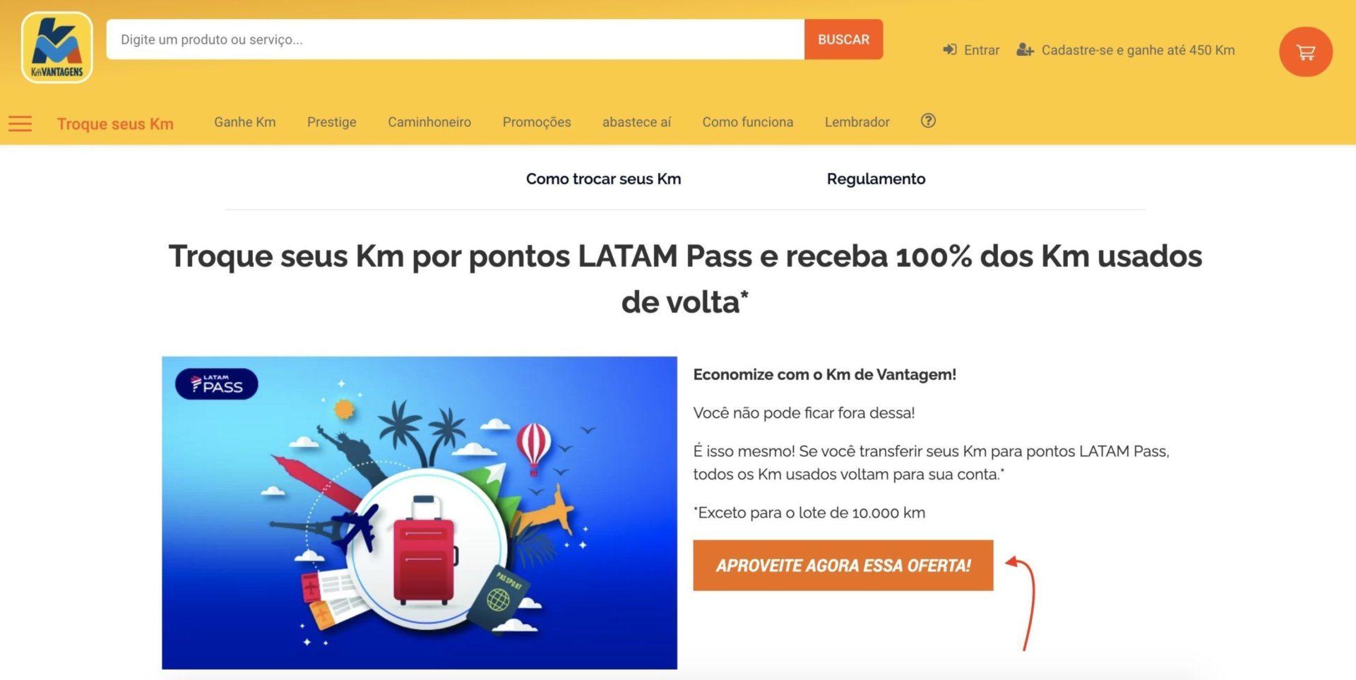 Km LATAM Pass disponíveis