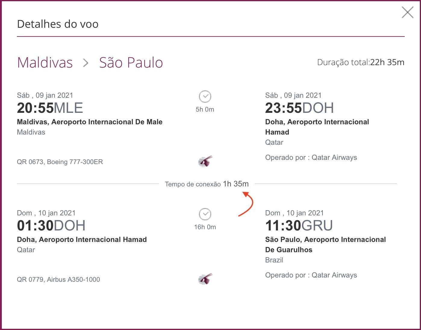 Qatar segundo voo Brasil