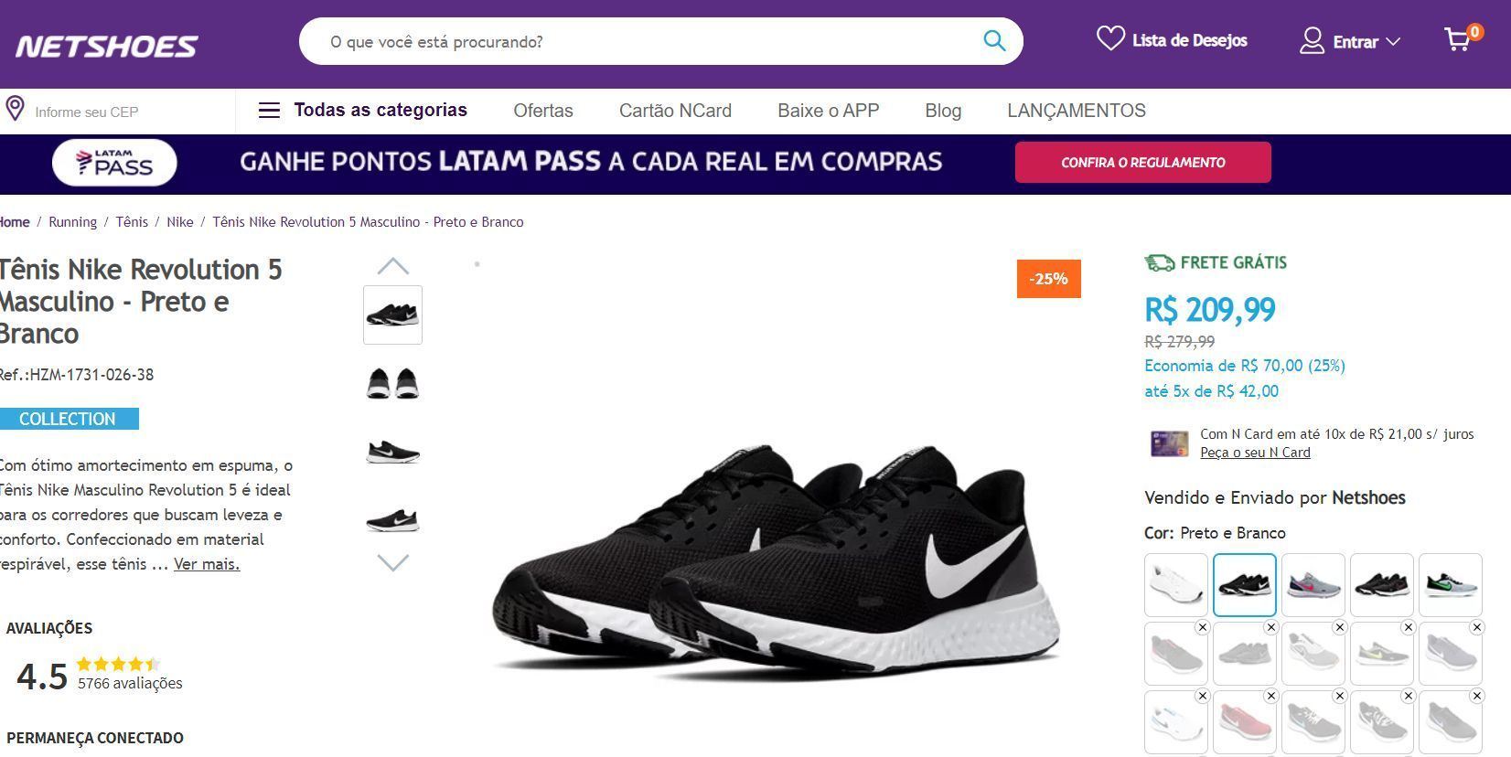 LATAM Netshoes 8 pontos