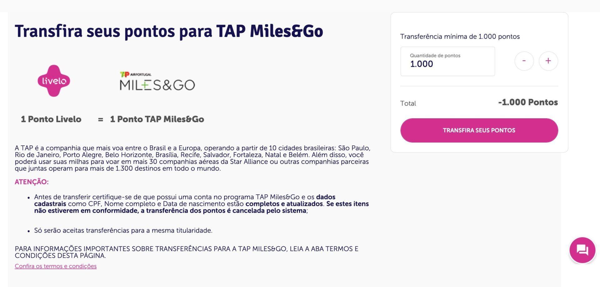 Passagem milhas TAP Miles&Go