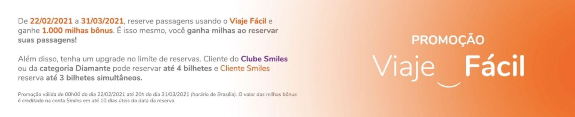 Smiles bônus Viaje Fácil