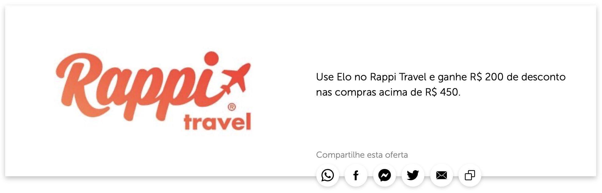 Elo Rappi Travel R$200